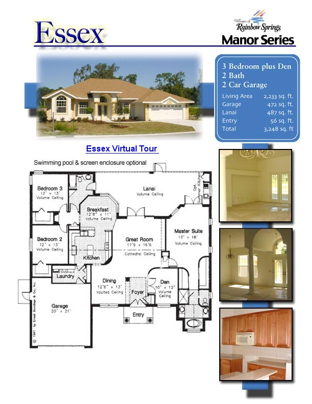 The essex floor plans and new home photos of model home for Floor plans villages florida